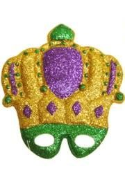 9in x 10in Plastic Purple/ Green/ Gold Crown Glitter Mask