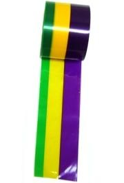 50ft Long x 3in Wide Purple/ Green/ Gold Plastic Decorating Streamer