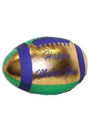 4in x 6in Vinyl Metallic Mardi Gras Football w/ Happy Mardi Gras Printing