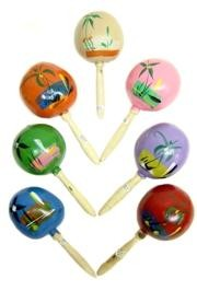 7.5in x 3.5in Assorted Hand Painted Maracas