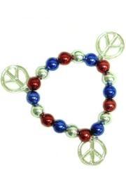 Metallic Red/ Blue/ Silver Peace Sign Bracelets