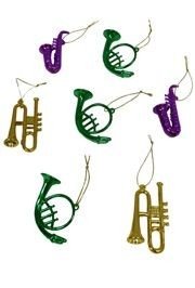 3in Assorted Musical Instruments in Metallic Purple, Green and Gold Colors