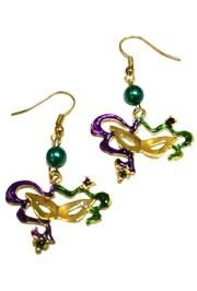1 3/4in Long x 1 1/8in Wide Mardi Gras Cat Eye Mask Earrings