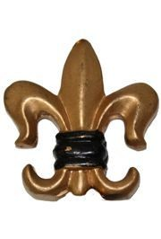 2in Tall x 2in Wide Black and Gold Fleur-De-Lis Ornament