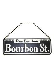 14.5in x 4 3/4in Polyresin/ Ceramic Bourbon Street Sign w/ Rope/ Cord For Hanging
