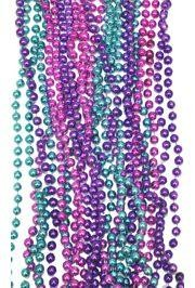 7mm 33in Metallic Purple, Hot Pink, and Turquoise Mardi Gras Beads