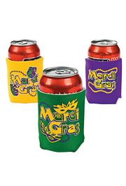 4in x 4in Mardi Gras Foam Can Coolers/ Can Insulators
