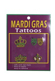 2in x 2in Mardi Gras Body Jewelry/ Tattoos 4 Assorted Styles