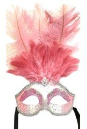 Light Pink and Silver Paper Mache Masquerade Mask With Light Pink Feathers