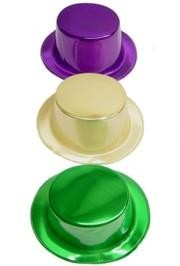 11in Long x 9in Wide Metallic Plastic Purple Green or Gold Top Hats