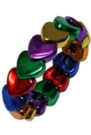 Metallic Rainbow Heart Shaped Bracelets
