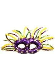 11/4in Tall x 2 1/2in Wide Purple/ Green/ Gold Mask w/ Rhinestone Pin/ Brooch