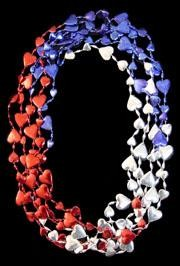 36in Metallic Red/ Blue/ Silver Section Heart Beads