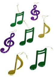 4in Assorted Mustical Notes in Metallic Purple, Green and Gold Colors