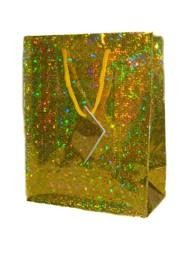 15in x 11in x 4in Gold Hologram Shopping Bags