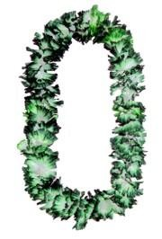 36in x 3in Simulated Silk Frilled Green/ White Lei