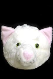 Plush White Cat Head Hat