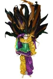 13in Tall x 5in Wide Purple Green Gold Sequin Jester  Doll/ Porcelain/Ceramic Face  w/ Feathers