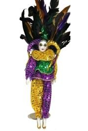 18in Tall x 6in Wide Purple Green Gold Sequin Jester Doll/Porcelain Face w/ Feathers