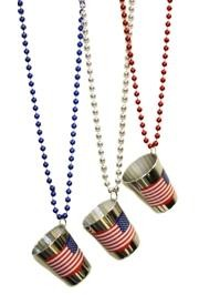 US Flag Shot Glass Necklaces