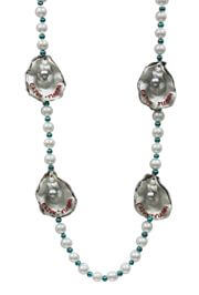 White Pearl Beads with Oyster Medallions