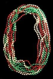 33in 7mm Round Section Metallic Red/ Green/ Gold Beads