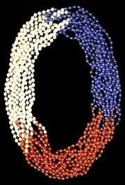 33in 7mm Round 3 Section Metallic Red/ Blue/ White Pearl Beads