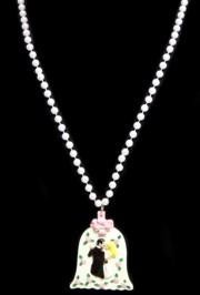33in 7.5mm White Pearl w/ Bride/ Groom/ Wedding Medallion