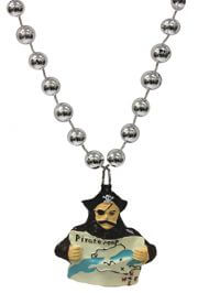 Pirate necklaces and medallions with skulls and crossed bones