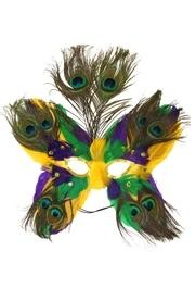 Purple Green and Gold Butterfly Shaped Masquerade Mask with Peacock Feathers
