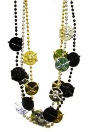 40in Black Clear Coat/ Metallic Gold/ Silver  Skulls/ Swords/ Pirate Medallion Beads
