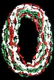 33in Metallic Green/ Red/ White Clear Coat Chili Peppers Beads