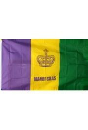 3ft x 5ft Polyester Mardi Gras Flag w/ Crown