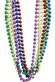 "Long Beads are the prize of every parade goer at Mardi Gras. These are usually round and metallic beads that come in lengths of 60"", 72"" 96"" and even 100""."