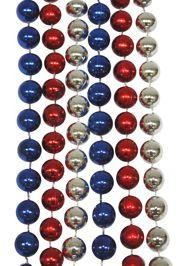 Metallic red, silver, and blue Mardi Gras beads