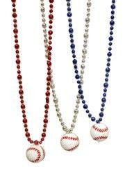33in 10mm Assorted Metallic Red/ Blue/ Silver Baseball Beads w/Plastic Baseball
