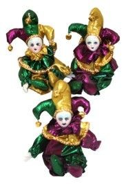 7in Tall x 3in Wide Purple/ Green/ Gold Mardi Gras Magnet Doll
