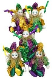 7in Tall x 3in Wide Purple/ Green/ Gold Jester Doll