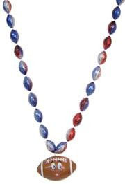 33in Metallic Red/ Blue/ Silver Tricolor Bead w/ Smiley Football