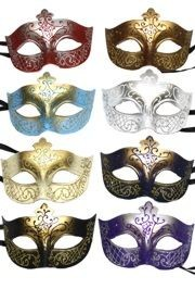Mardi Gras mask are covered in glitter or have glittery scroll work. Glitter mask include white wedding mask, masquerade mask, Mardi Gras Mask.