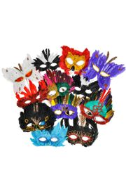 Mardi Gras Feather Masquerade Masks Assorted Styles