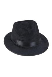 5in Tall Black Velvet Fedora Hat