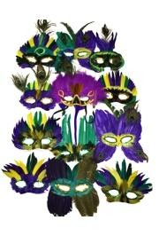 Assorted Colors Deluxe Mardi Gras Feather Masquerade Masks
