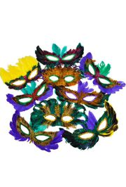 Assorted Color Feather Masquerade Mask