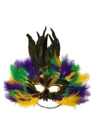 Purple Green and Yellow Feather Masquerade Mask with Gold Tinsel