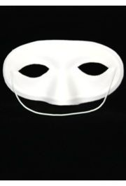 4in x 7in White Satin Half Mask