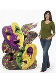 5 ft x 45in Cardboard Mardi Gras Mask Stand-Up