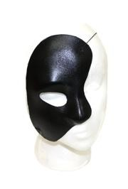 Half Mask: Black Satin Phantom of the Opera