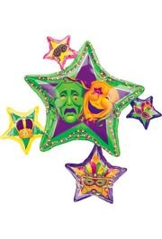 Mardi Gras Star Cluster Mylar Balloons