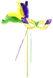 Sequin Mardi Gras Masquerade Mask with Feathers on a Stick